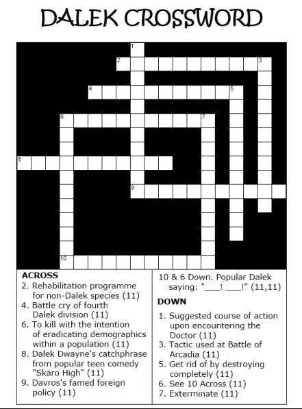crossword,dalek,Exterminate