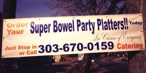 football spelling sign the Big Game g rated fail nation