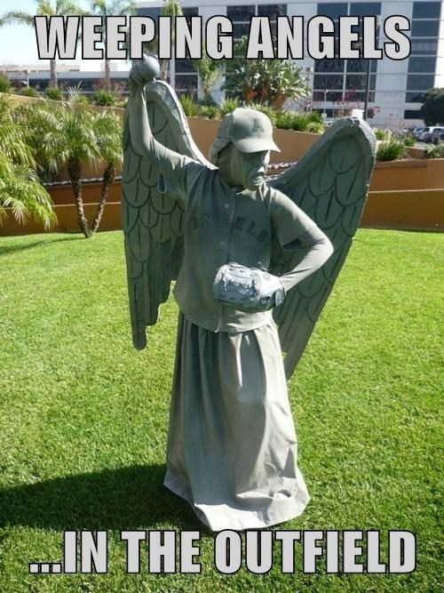 weeping angels,puns,angels in the outfield