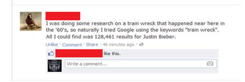 google,justin bieber,train wreck,failbook,g rated
