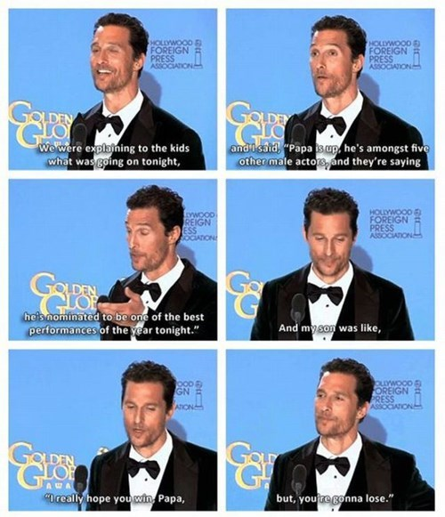 matthew mcconaughey,golden globes,encouragement,kids,parenting