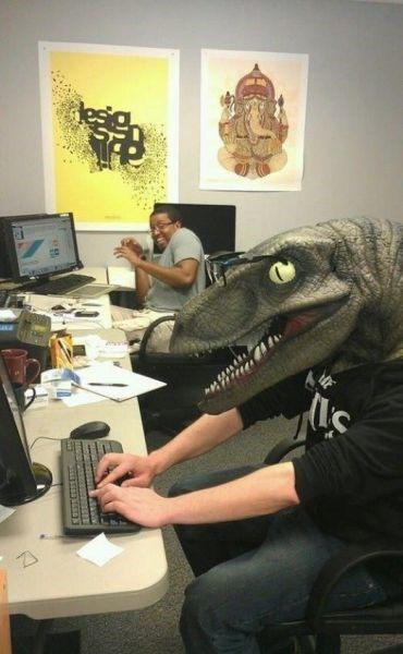 coworkers,dinosaurs,monday thru friday,masks,work