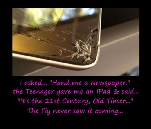 fly,ipad,funny,newspaper