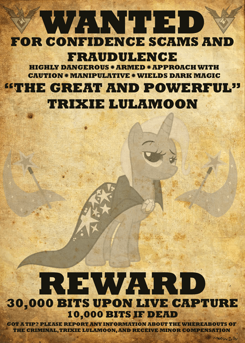 trixie wanted poster MLP - 8030445824