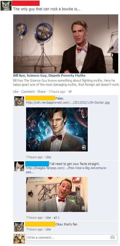 fashion,bill nye,doctor who,bowtie,Matt Smith,peewee herman,failbook,g rated