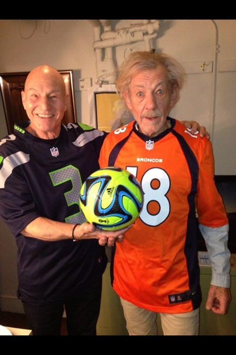 Denver Broncos football ian mckellen patrick stewart nfl seattle seahawks super bowl - 8031508224