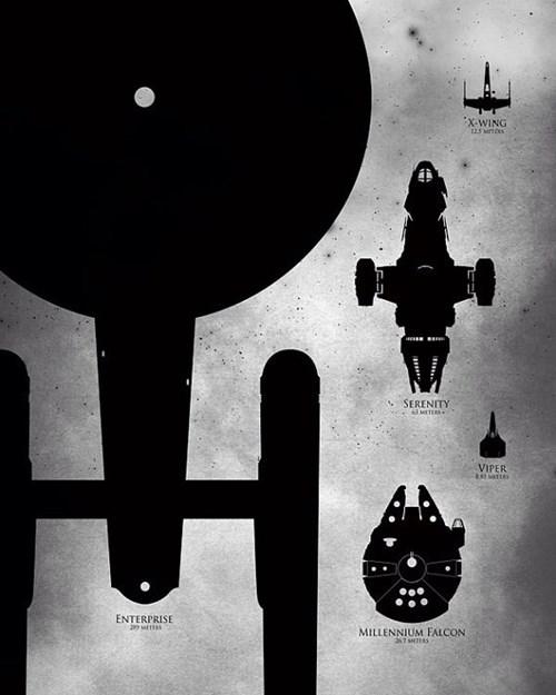 USS Enterprise,Millenium Falcon,scifi,star wars,print,serenity,Battlestar Galactica,Star Trek