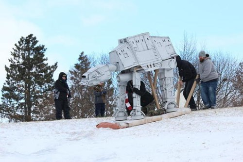 sledding cardbaord star wars DIY at at