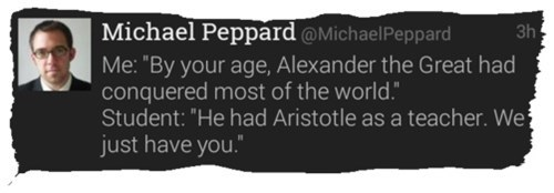 alexander the great teaching Aristotle tweet Historical failbook g rated
