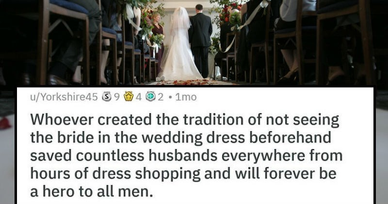 shower thought about grooms not going dress shopping with their brides