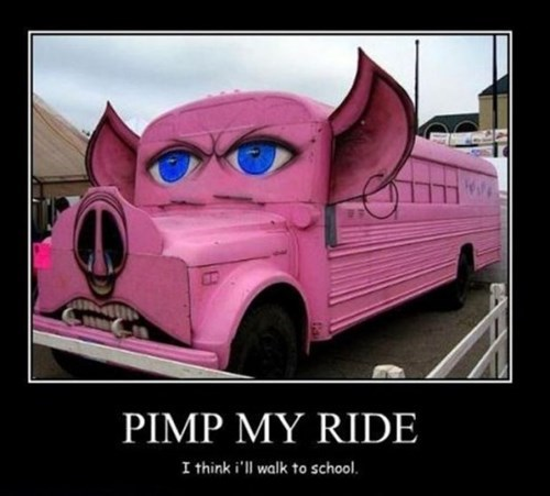pig,school bus,funny,pimp my ride