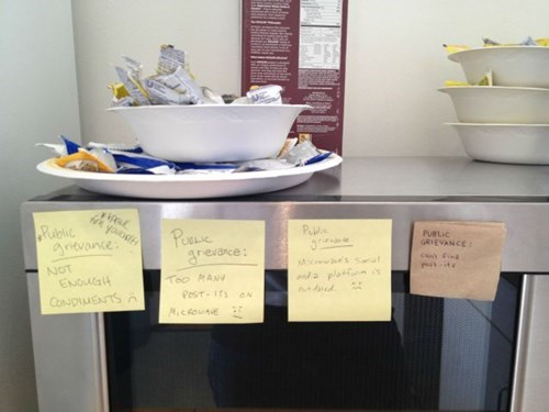 monday thru friday,post its,work,break room,Airing of Grievances