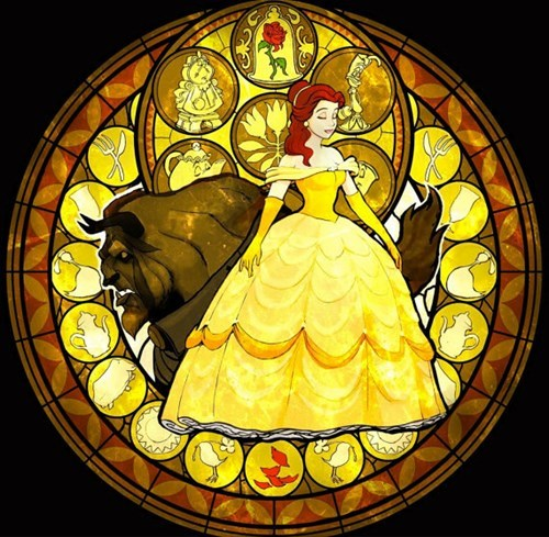 Beauty and the Beast stained glass etsy cross stitch - 8035984384