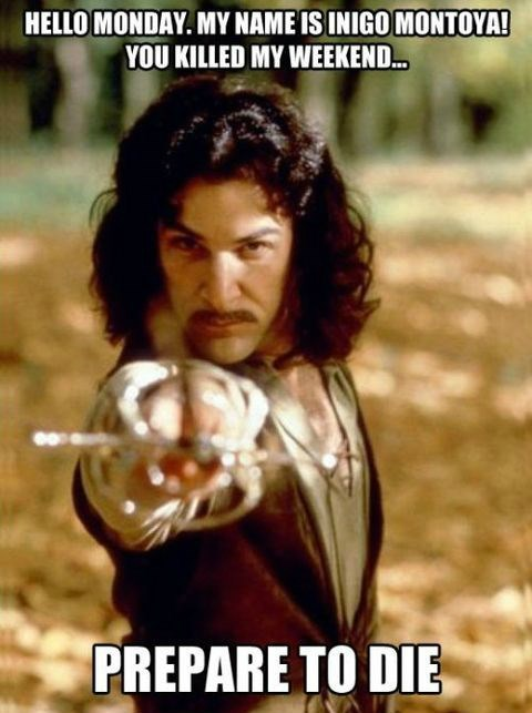 the princess bride,inigo montoya,mondays