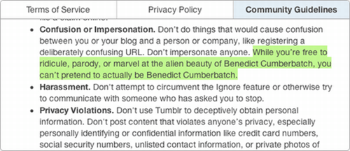Text - Terms of Service Privacy Policy Community Guidelines Confusion or Impersonation. Don't do things that would cause confusion between you or your blog and a person or company, like registering a deliberately confusing URL. Don't impersonate anyone. While you're free to ridicule, parody, or marvel at the allen beauty of Benedict Cumberbatch, you can't pretend to actually be Benedict Cumberbatch. Harassment. Don't attempt to circumvent the Ignore feature or otherwise try to communicate with s