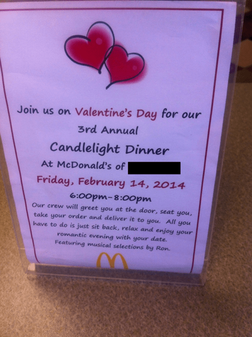 candlelight dinner McDonald's romance funny Valentines day g rated dating - 8037998080