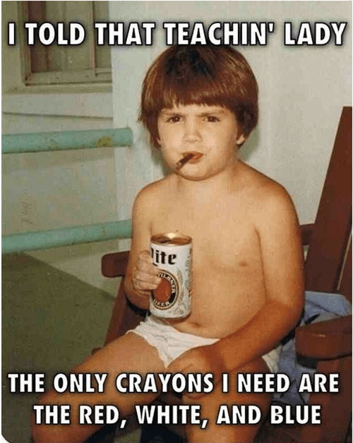 beer ron swanson murica kids crayons funny - 8038054912