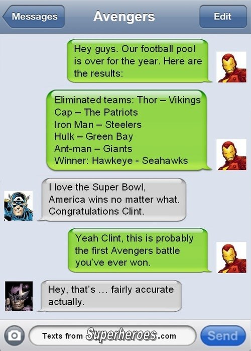 seattle seahawks,super bowl,hawkeye,iron man,avengers