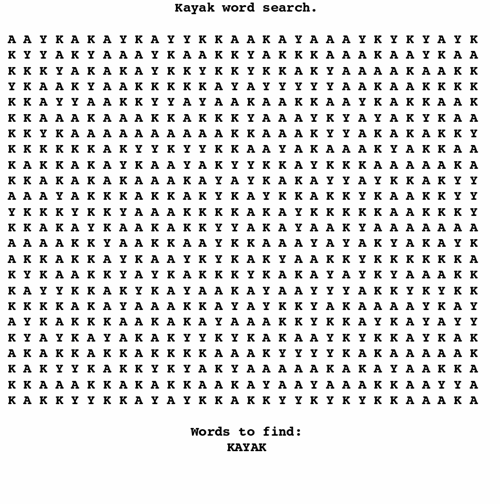 word search kayak