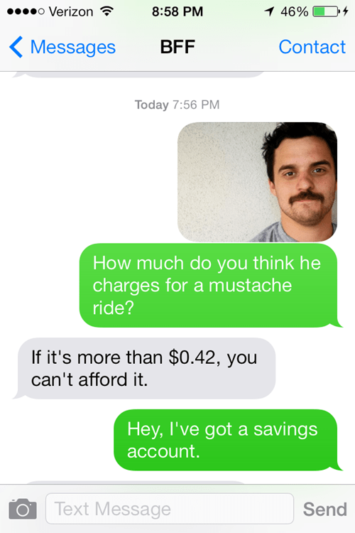 New Girl mustache rides texting celeb - 8038558464