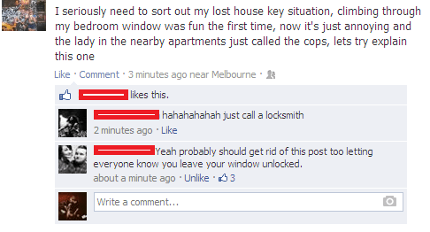 keys,ladder,locked out,wait I can explain,police