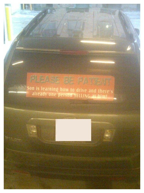 bumper sticker,teenagers,driving,parenting,g rated