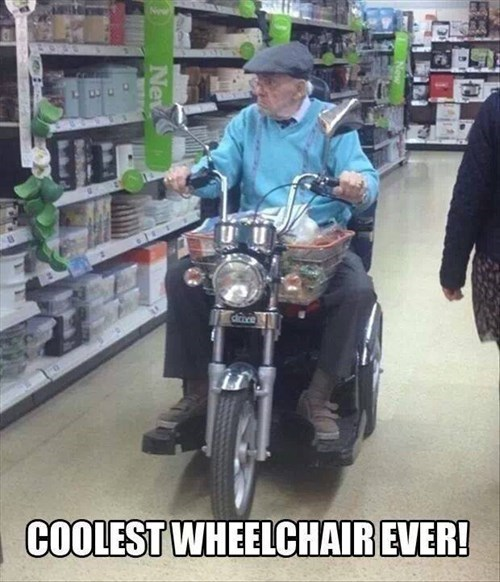 motorcycles,wheelchairs,old people