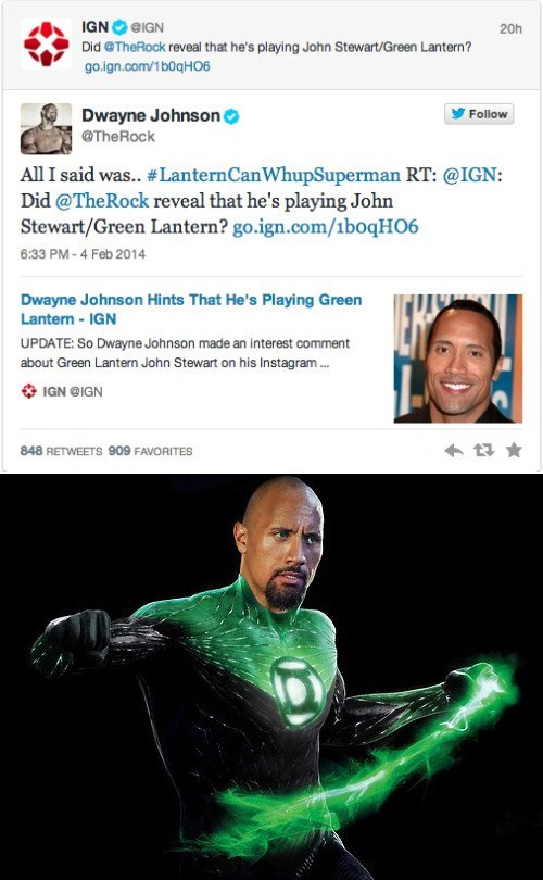 Dwayne Johnson justice league Green lantern the rock celebrity twitter - 8040404992
