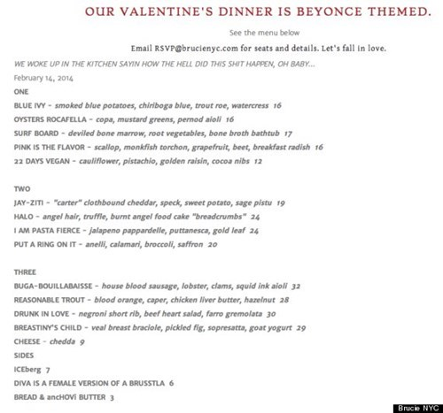 menu beyoncé dinner funny Valentines day