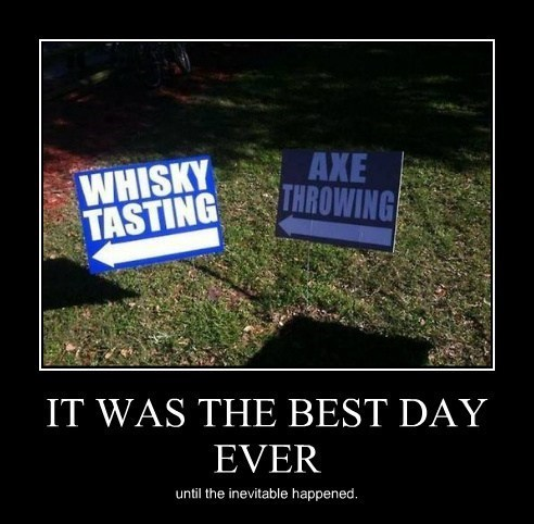 axe throwing whiskey signs best day ever funny - 8042397696