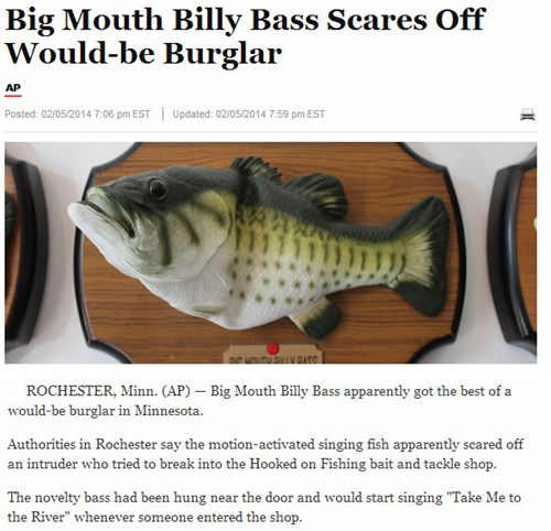 security Criminally Dumb Criminal big mouth billy bass Probably bad News take me to the river - 8042442240