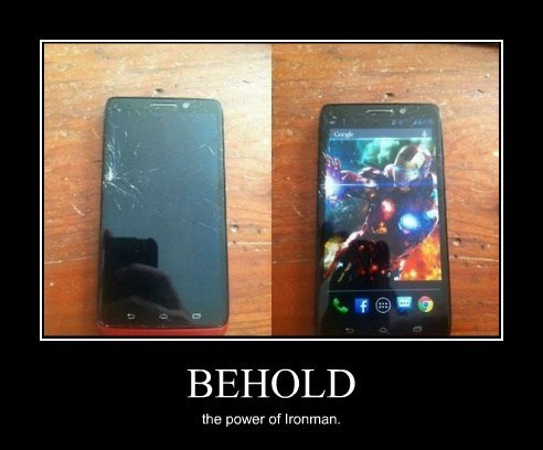 ironman phone broken funny behold