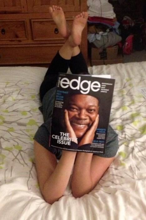 perfect angle,Samuel L Jackson,celeb,magazine,funny