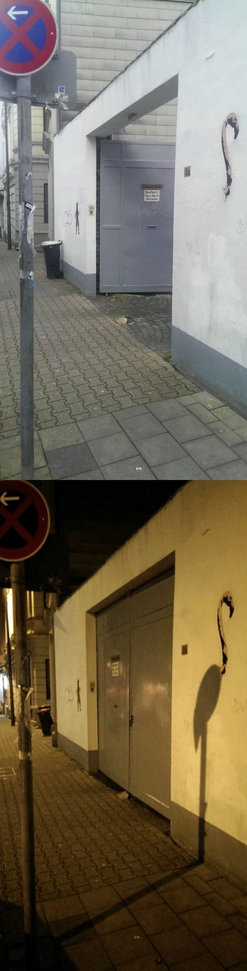 Street Art creative shadows flamingo - 8042970368