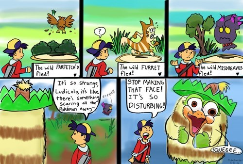 Pokémon scary face ludicolo web comics