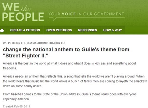 White house,national anthem,petition,guiles-theme