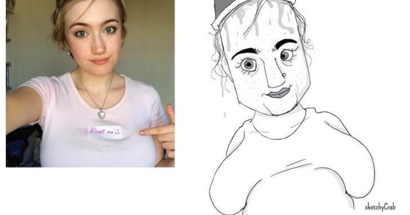 artist roasts people with ugly caricatures