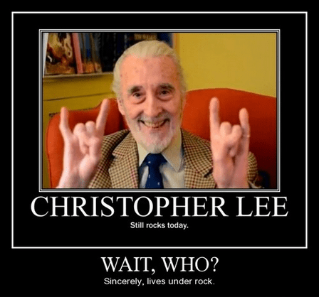 under a rock Lord of the Rings Christopher Lee funny - 8046828800