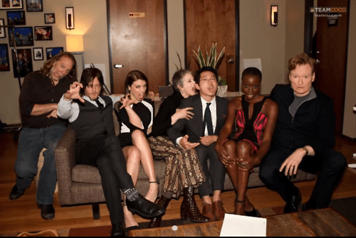 behind the scenes,Steven Yeun,Lauren Cohan,Team Coco,norman reedus