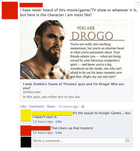 Game of Thrones,facebook quiz,quiz,hunger games,failbook,g rated