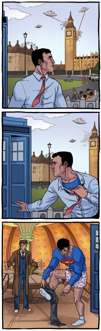 tardis,11th Doctor,superman,web comics