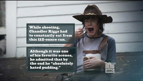 behind the scenes,carl grimes,pudding
