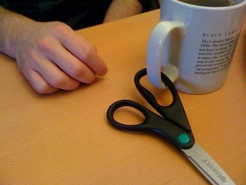 work,mugs,scissors