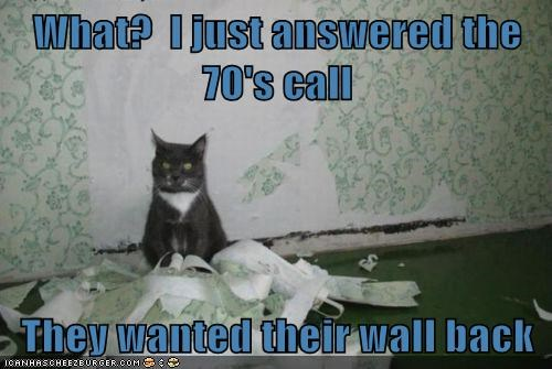 old retro wallpaper wall paper Cats - 8053545728