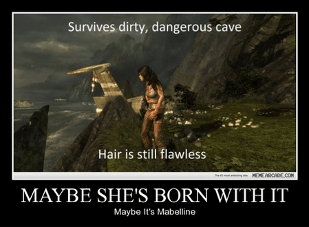 funny,hair,maybelline,lara croft,Tomb Raider