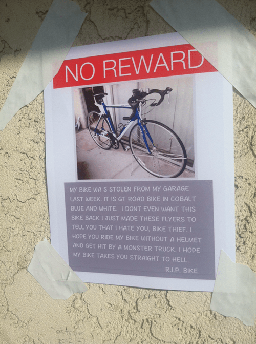 bike lost sign - 8054139136