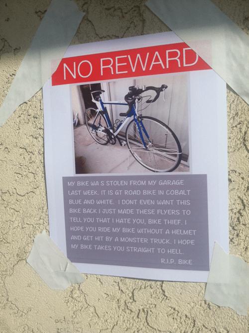 bike lost sign - 8054139136