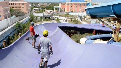 bad idea,skateboarding,whee,water slide