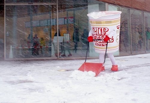 monday thru friday snow work cup noodles shovel