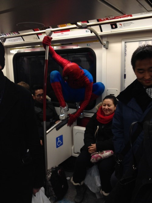 Spider-Man,poorly dressed,Subway,g rated